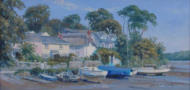 "Riverside village of St Clement, Cornwall, painting, oil on board 10"" x 20"""