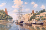 "Barque British General under the Clifton Suspension Bridge, painting oi on canvas 24"" x 36"""