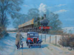 "GWR 14xx class 0-4-2T painting, oil on canvas 18"" x 24"""