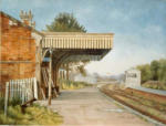 "Painting Newent Station Gloucestershire, oil on canvas, 14"" x 18"""