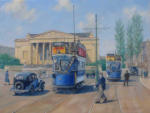 "painting Bristol trams at Victoria Rooms , Bristol, oil on canvas 18"" x 24"""