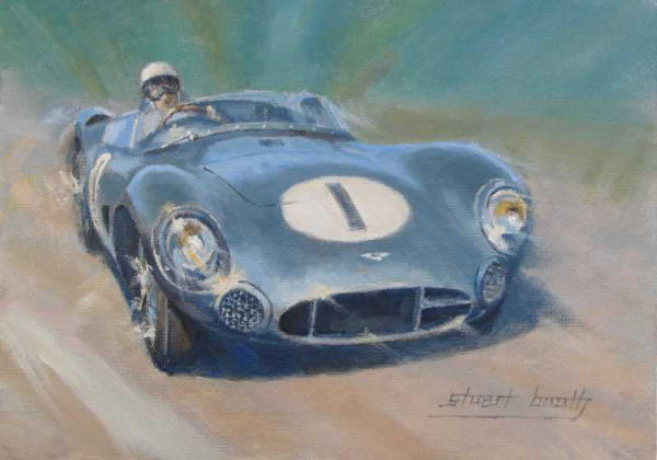 Stirling Moss Aston Martin DBR1 painting