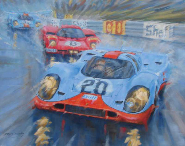 Gulf Porsche motor racing artwork