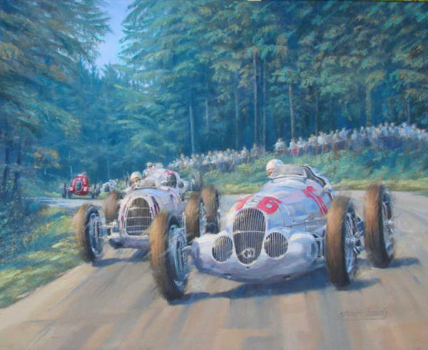 grand prix art 1937 Mercedes and Auto Union